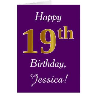 Purple, Faux Gold 19th Birthday + Custom Name Card