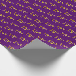 Purple, Faux Gold 19th (Nineteenth) Event Wrapping Paper