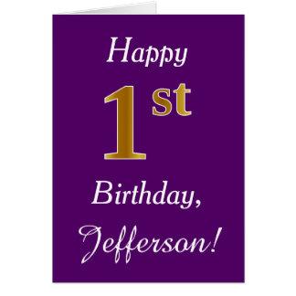 Purple, Faux Gold 1st Birthday + Custom Name Card
