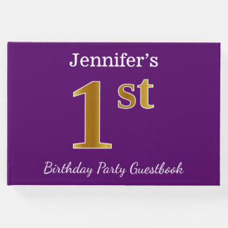Purple, Faux Gold 1st Birthday Party + Custom Name Guest Book