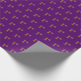 Purple, Faux Gold 1st (First) Event Wrapping Paper
