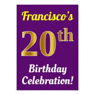 Purple, Faux Gold 20th Birthday Celebration + Name Card