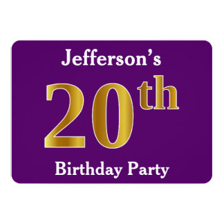 Purple, Faux Gold 20th Birthday Party; Custom Name Card
