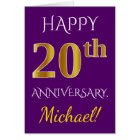 Purple, Faux Gold 20th Wedding Anniversary + Name Card
