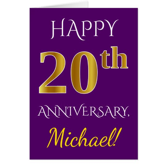 Purple, Faux Gold 20th Wedding Anniversary + Name Card