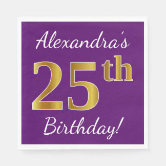 Purple, Faux Gold 25th Birthday + Custom Name Paper Napkins
