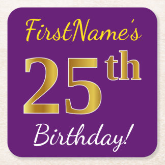 Purple, Faux Gold 25th Birthday + Custom Name Square Paper Coaster