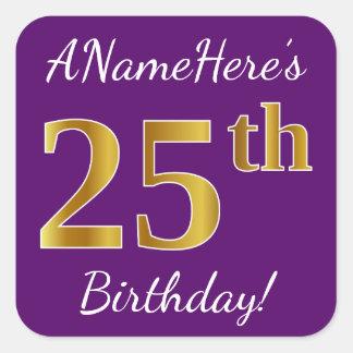 Purple, Faux Gold 25th Birthday + Custom Name Square Sticker