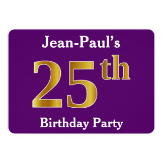 Purple, Faux Gold 25th Birthday Party; Custom Name Card