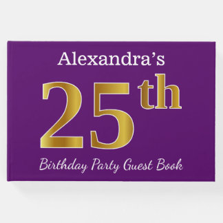 Purple, Faux Gold 25th Birthday Party; Custom Name Guest Book