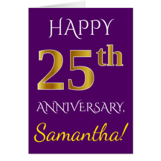 Purple, Faux Gold 25th Wedding Anniversary + Name Card