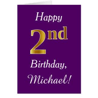 Purple, Faux Gold 2nd Birthday + Custom Name Card