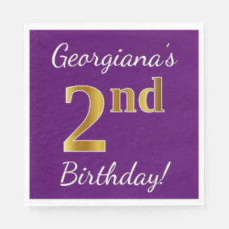Purple, Faux Gold 2nd Birthday + Custom Name Disposable Napkin