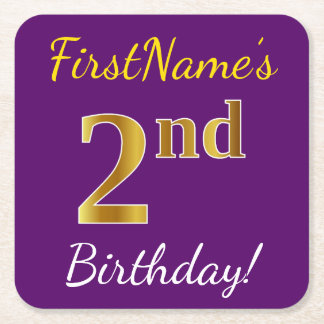 Purple, Faux Gold 2nd Birthday + Custom Name Square Paper Coaster