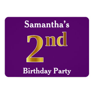 Purple, Faux Gold 2nd Birthday Party + Custom Name Card