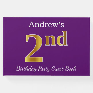 Purple, Faux Gold 2nd Birthday Party + Custom Name Guest Book