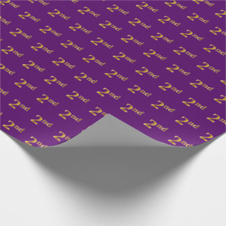 Purple, Faux Gold 2nd (Second) Event Wrapping Paper