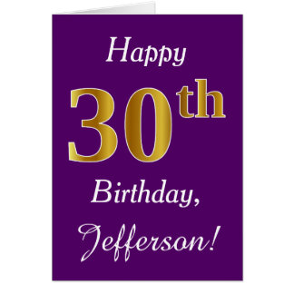 Purple, Faux Gold 30th Birthday + Custom Name Card