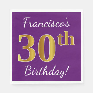 Purple, Faux Gold 30th Birthday + Custom Name Disposable Napkin