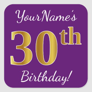 Purple, Faux Gold 30th Birthday + Custom Name Square Sticker