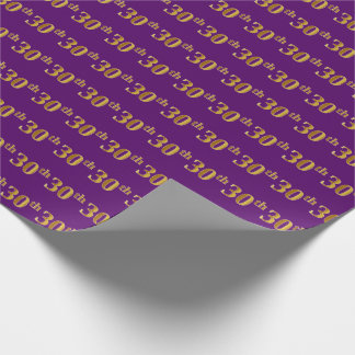 Purple, Faux Gold 30th (Thirtieth) Event Wrapping Paper