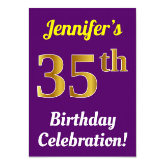 Purple, Faux Gold 35th Birthday Celebration + Name Card