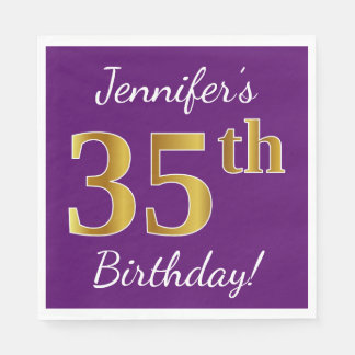 Purple, Faux Gold 35th Birthday + Custom Name Disposable Napkin