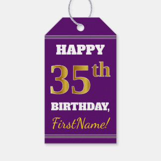 Purple, Faux Gold 35th Birthday + Custom Name Gift Tags