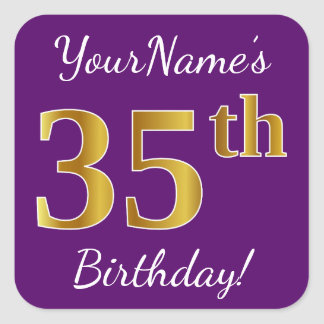 Purple, Faux Gold 35th Birthday + Custom Name Square Sticker