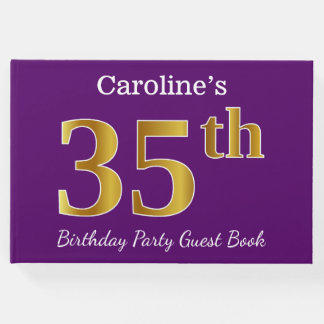 Purple, Faux Gold 35th Birthday Party; Custom Name Guest Book