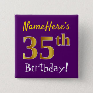 Purple, Faux Gold 35th Birthday, With Custom Name 2 Inch Square Button