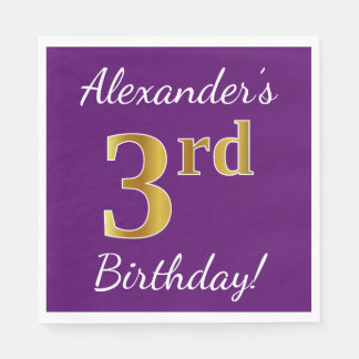 Purple, Faux Gold 3rd Birthday + Custom Name Disposable Napkin