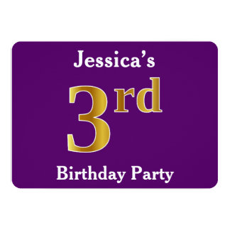 Purple, Faux Gold 3rd Birthday Party + Custom Name Card