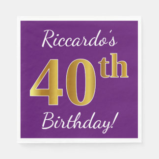 Purple, Faux Gold 40th Birthday + Custom Name Disposable Napkins