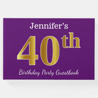 Purple, Faux Gold 40th Birthday Party; Custom Name Guest Book
