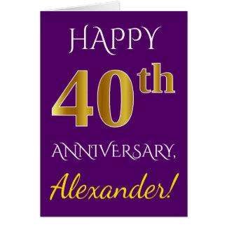 Purple, Faux Gold 40th Wedding Anniversary + Name Card