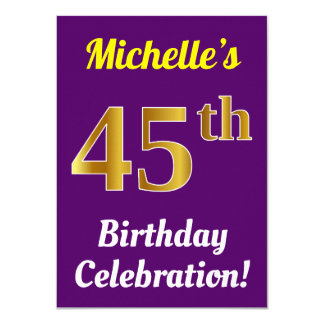 Purple, Faux Gold 45th Birthday Celebration + Name Card