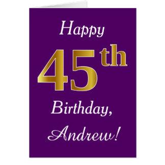 Purple, Faux Gold 45th Birthday + Custom Name Card