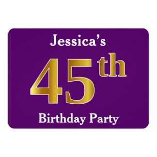 Purple, Faux Gold 45th Birthday Party; Custom Name Card