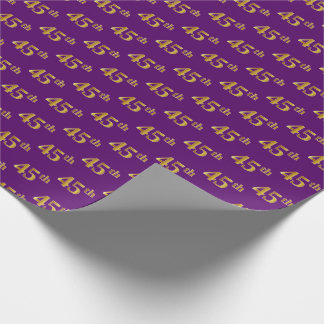 Purple, Faux Gold 45th (Forty-Fifth) Event Wrapping Paper