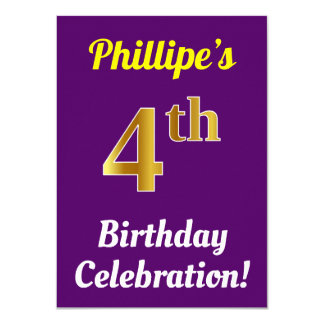 Purple, Faux Gold 4th Birthday Celebration + Name Card