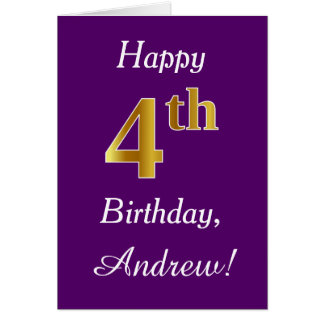 Purple, Faux Gold 4th Birthday + Custom Name Card