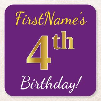 Purple, Faux Gold 4th Birthday + Custom Name Square Paper Coaster