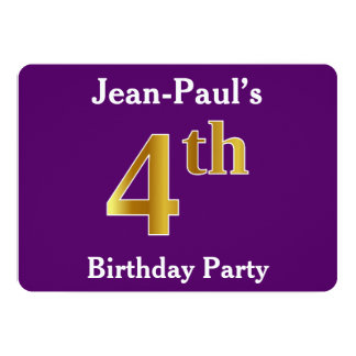 Purple, Faux Gold 4th Birthday Party + Custom Name Card