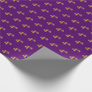 Purple, Faux Gold 4th (Fourth) Event Wrapping Paper