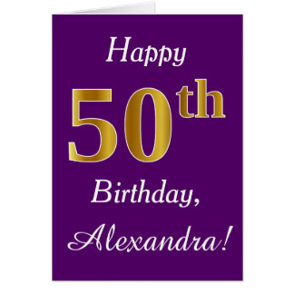 Purple, Faux Gold 50th Birthday + Custom Name Card