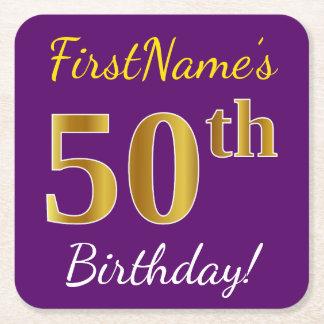 Purple, Faux Gold 50th Birthday + Custom Name Square Paper Coaster