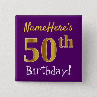 Purple, Faux Gold 50th Birthday, With Custom Name 2 Inch Square Button