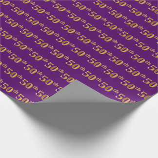 Purple, Faux Gold 50th (Fiftieth) Event Wrapping Paper