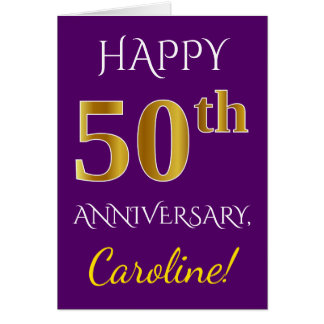 Purple, Faux Gold 50th Wedding Anniversary + Name Card